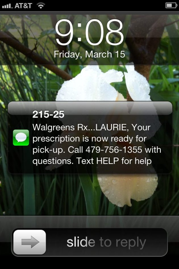 Walgreen's Prescription Alert on iPhone