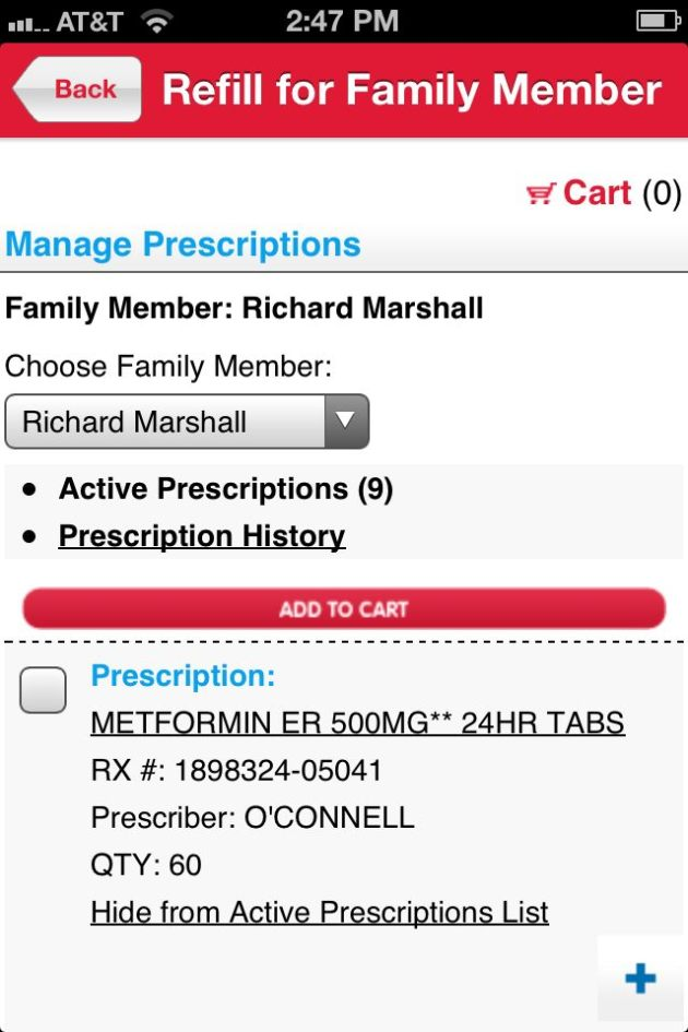 Walgreen's Prescription App Family Member Refill
